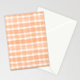 Watercolor Brushstroke Plaid Pattern Pantone Papaya Orange 15-1243 Stationery Cards