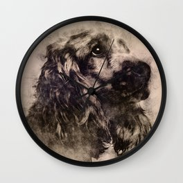 English Cocker Spaniel Sketch Wall Clock
