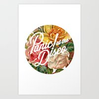panic at the disco Art Prints featuring Panic! at the disco round vintage flowers by Van de nacht