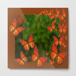 Green Brown Art Monarch Butterflies Migration Metal Print