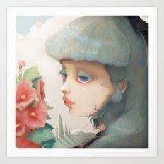 Pensees et roses tremieres Art Print