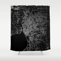 new york map Shower Curtains featuring Buffalo map New York by Line Line Lines