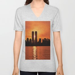 Twin Towers Summer Sky Unisex V-Neck