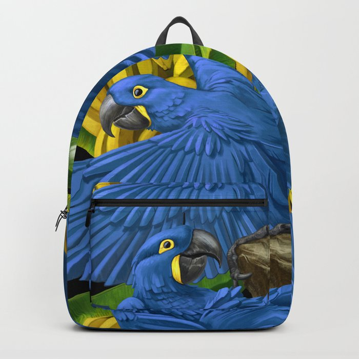 Hyacinth Macaws and bananas Stravaganza (black background). Backpack