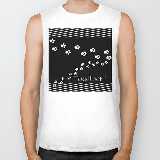 Together ! Black and white illustration . Biker Tank