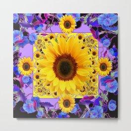 YELLOW SUNFLOWERS BLUE MORNING GLORY FLOWERS Metal Print