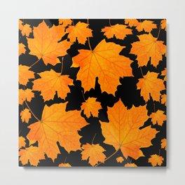 Orange Maple Leaves Black Background #decor #society6 #buyart Metal Print