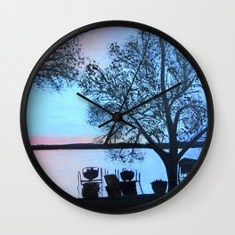Buffalo lake at night Wall Clock