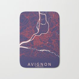 Avignon, France, Blue, White, City, Map Bath Mat