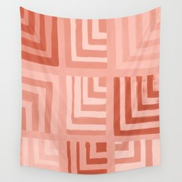 Painted Color Block Squares in Peach Wall Tapestry