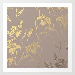 Golden Lilies Art Print