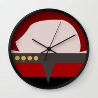 arsenal Wall Clocks featuring Captian Katherine Janeway - Minimalist Star Trek: Voyager VOY - trektangle - startrek trektangles by Trektangles