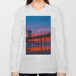 Crimson Sunset at Huntington Beach Pier. Long Sleeve T-shirt