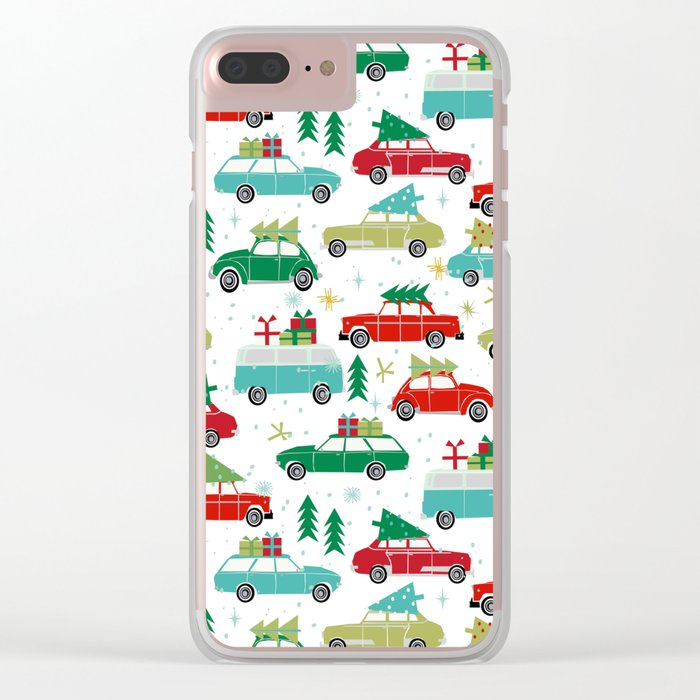 Christmas holiday vintage cars classic festive christmas tree snowflakes winter season Clear iPhone Case