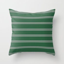 Green and Silver House Colors Stripes Throw Pillow