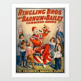 Barnum & Bailey clown poster Art Print