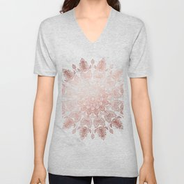 Dancing Mandala Rose Gold Unisex V-Neck