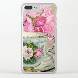 Hand Painted China Tea Cup and Roses Clear iPhone Case