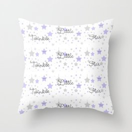 Twinkle Little Star Purple Baby Girl Nursery  Throw Pillow