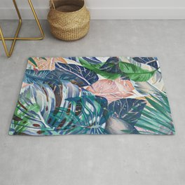 Tropical forest blue pink green beige tropical leaves Rug