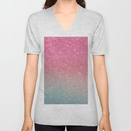 Modern neon pink teal faux glitter ombre patern Unisex V-Neck