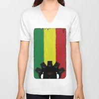 reggae V-neck T-shirts featuring Reggae King by JRV Distorted Works