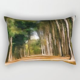 Pine Tree Path in Southern Illinois - Oil Painting Rectangular Pillow