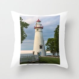 Marblehead Lighthouse at Lake Erie Sandusky area Ohio Throw Pillow