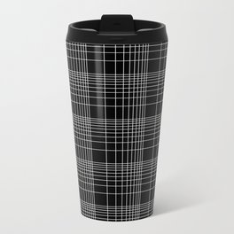 Back to School- Simple Handdrawn Grid Pattern- Black & White - Mix & Match with Simplicity of Life Metal Travel Mug