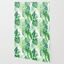 palm leaves watercolor pattern Wallpaper