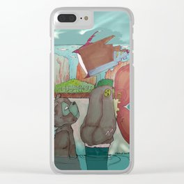 Tv Lad and Bear Clear iPhone Case