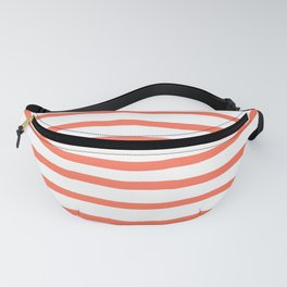 Simply Drawn Stripes in Deep Coral Fanny Pack
