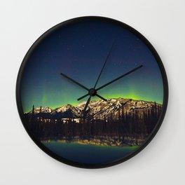 Northern Light Green Aurora Over Dark Arctic Mountains Landscape Wall Clock