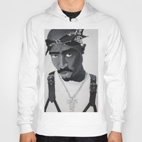 tupac Hoodies featuring Pop Cult™ - Tupac 2 by Lina Barbarin - Pop Cult™ & Aminals™