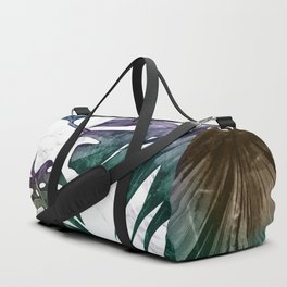 Tropical Palm Leaves on Marble Duffle Bag