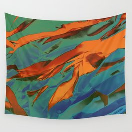 Green, Orange and Blue Abstract Wall Tapestry