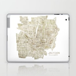 Jackson Mississippi watercolor city map Laptop & iPad Skin