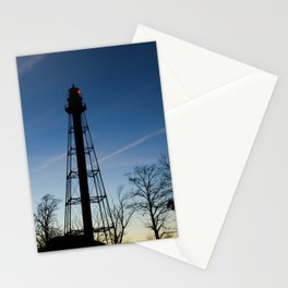 Reedy Point Rear Lighthouse Silhouette Nautical Night Photo Stationery Cards