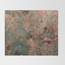 Marble Emerald Copper Blue Green Throw Blanket