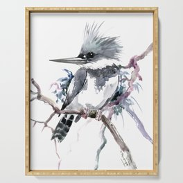 Belted Kingfisher, Gray design, Gray design Serving Tray