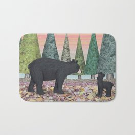 black bears & evergreens Bath Mat