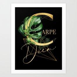 Carpe Diem – Inspiring quote in gold Art Print