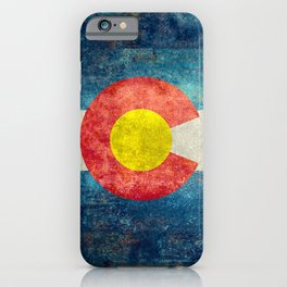 Colorado flag with Grungy Textures iPhone Case