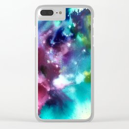 Abstract in Purple and Blue Clear iPhone Case