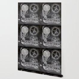 black and white vintage patent print chalkboard steampunk clock gear Wallpaper