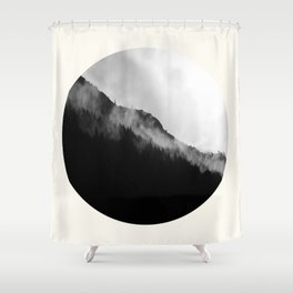 Mid Century Modern Round Circle Photo Black And White Misty Pine Trees Cliff Shower Curtain