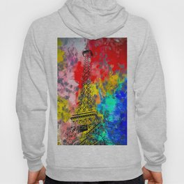 Eiffel Tower at Paris hotel and casino, Las Vegas, USA,with red blue yellow painting abstract backgr Hoody