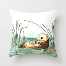 Otter on a Laptop Throw Pillow