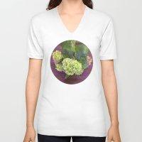 hydrangea V-neck T-shirts featuring hydrangea by Federico Faggion