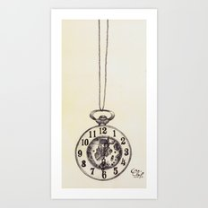 Ballpoint Pen, Half Hunter Pocket Watch Art Print